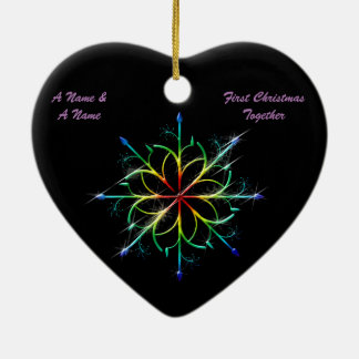 Gay Newly Weds First Christmas Pride Snowflake Christmas Ornament
