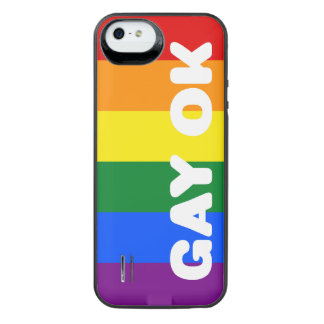GAY OK Big White Logo LGBT Gay Pride Rainbow Flag iPhone SE/5/5s Battery Case