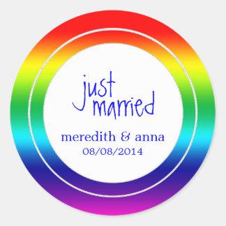 Gay or Lesbian Wedding Just Married Round Sticker