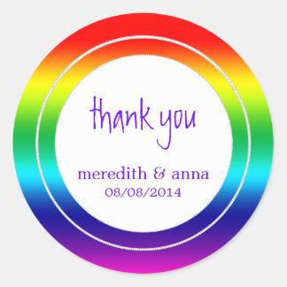 Gay or Lesbian Wedding Thanks / Thank You Round Sticker