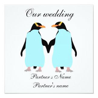 Gay, Pastel penguins wedding invitation
