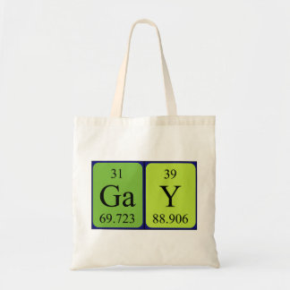 Gay periodic table name tote bag