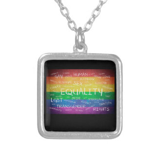 Gay pride and support silver plated necklace