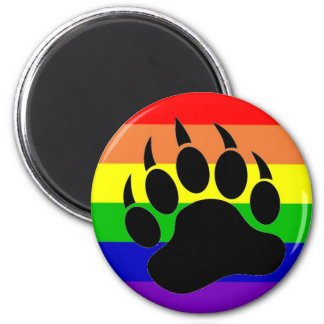 Gay Pride Bear Paw 6 Cm Round Magnet