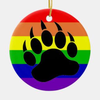 Gay Pride Bear Paw Christmas Ornament