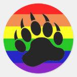 Gay Pride Bear Paw Sticker