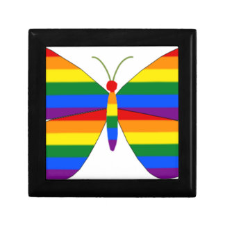 Gay Pride Butterfly Small Square Gift Box