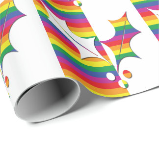 Gay Pride Christmas Holly Wrapping Paper