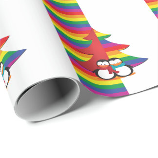 Gay Pride Christmas Tree With Penguin Couple Wrapping Paper