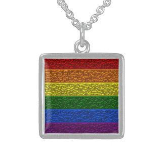 Gay Pride Chrome Flag Square Silver Pendant