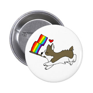 Gay Pride Corgi Pin