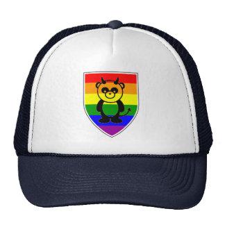 Gay Pride Cute Panda Bear on Rainbow flag shield Trucker Hat
