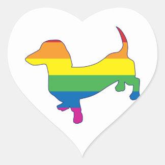 Gay Pride Dachshund/Wiener Heart Sticker