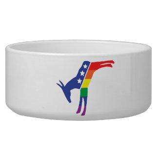 Gay Pride Democrat Donkey Pet Water Bowl