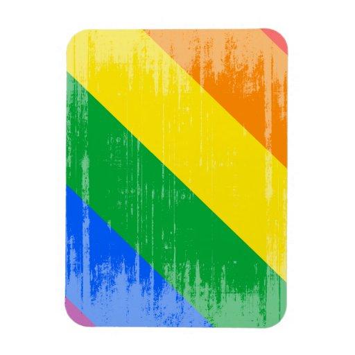 GAY PRIDE DIAGONAL DISTRESSED DESIGN VINYL MAGNET