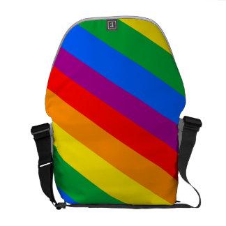 GAY PRIDE DIAGONAL PATTERN MESSENGER BAG