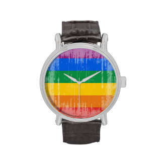 GAY PRIDE DISTRESSED DESIGN -.png Wristwatches