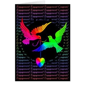 Gay Pride Engagement Congratulations Rainbow Doves Card