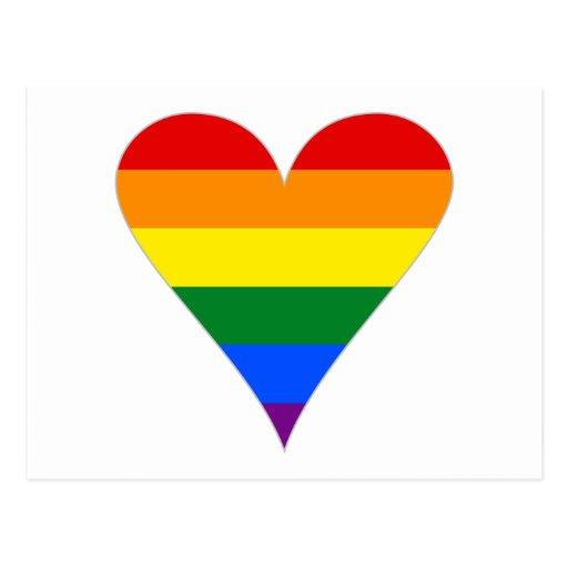 Gay Pride Flag Heart Funky - Grey Postcards