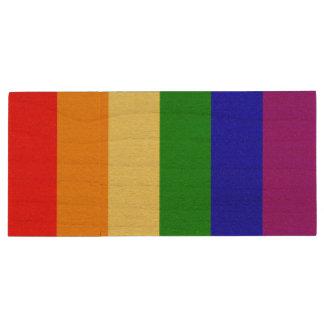 Gay Pride Flag Wood USB 3.0 Flash Drive