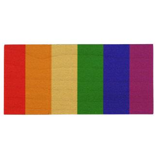 Gay Pride Flag Wood USB 2.0 Flash Drive