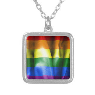 Gay Pride Flag Silver Plated Necklace