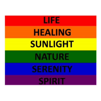 Gay Pride Flag with Meanings Postcard