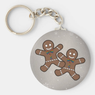 Gay Pride Gingerbread Couple Basic Round Button Key Ring