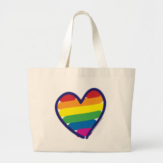 GAY-PRIDE-HEART-In-catneato Large Tote Bag