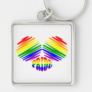 Gay Pride Heart Silver-Colored Square Key Ring