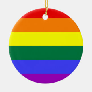 Gay Pride Horizontal Bar Rainbow Flag Christmas Ornament