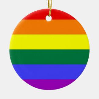 Gay Pride Horizontal Bar Rainbow Flag Christmas Ornament