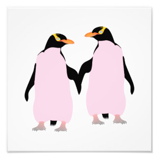 Gay Pride Lesbian Penguins Holding Hands Art Photo