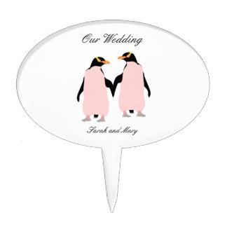 Gay Pride Lesbian Penguins Holding Hands Cake Pick