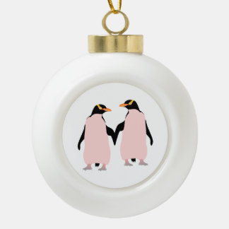 Gay Pride Lesbian Penguins Holding Hands Ceramic Ball Decoration