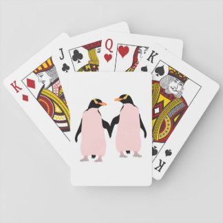 Gay Pride Lesbian Penguins Holding Hands Playing Cards