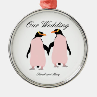 Gay Pride Lesbian Penguins Holding Hands Silver-Colored Round Decoration