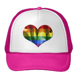 Gay Pride Love Heart Flag Mesh Hat