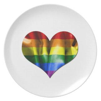 Gay Pride Love Heart Flag Plate