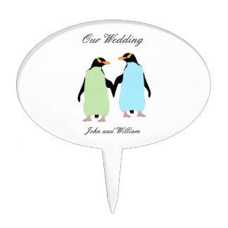 Gay Pride Penguins Holding Hands Cake Picks