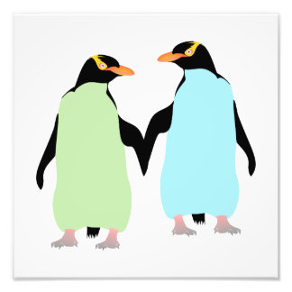 Gay Pride Penguins Holding Hands Photo Print