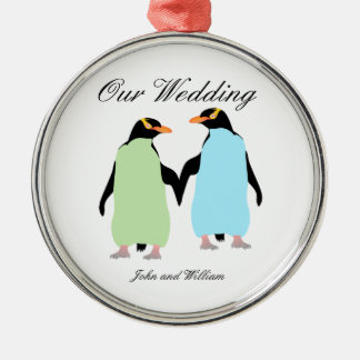 Gay Pride Penguins Holding Hands Silver-Colored Round Decoration