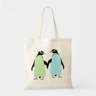 Gay Pride Penguins Holding Hands Tote Bag