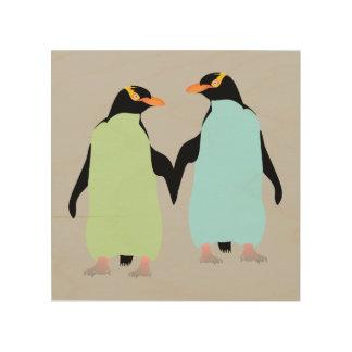 Gay Pride Penguins Holding Hands Wood Wall Art