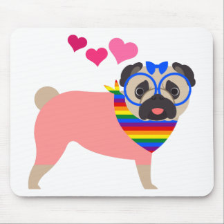 Gay Pride Pug with Hearts and Bandana Mouse Pad