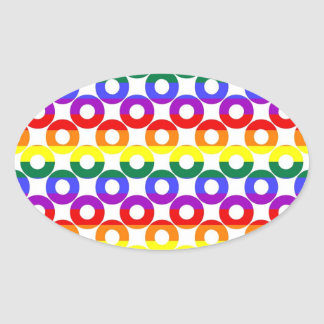Gay Pride Rainbow Circles Oval Sticker