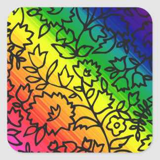 Gay Pride Rainbow Colors, Lace Floral, Square Sticker