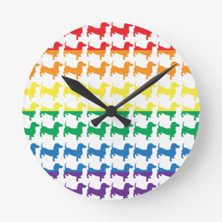 Gay Pride Rainbow Dachshunds Round Clock