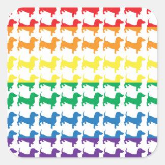 Gay Pride Rainbow Dachshunds Square Sticker