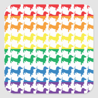 Gay Pride Rainbow Dachshunds Square Stickers